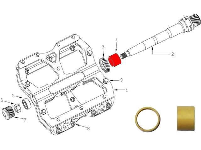 Reverse DU Bushing - para pedal Escape 2 piezas beige